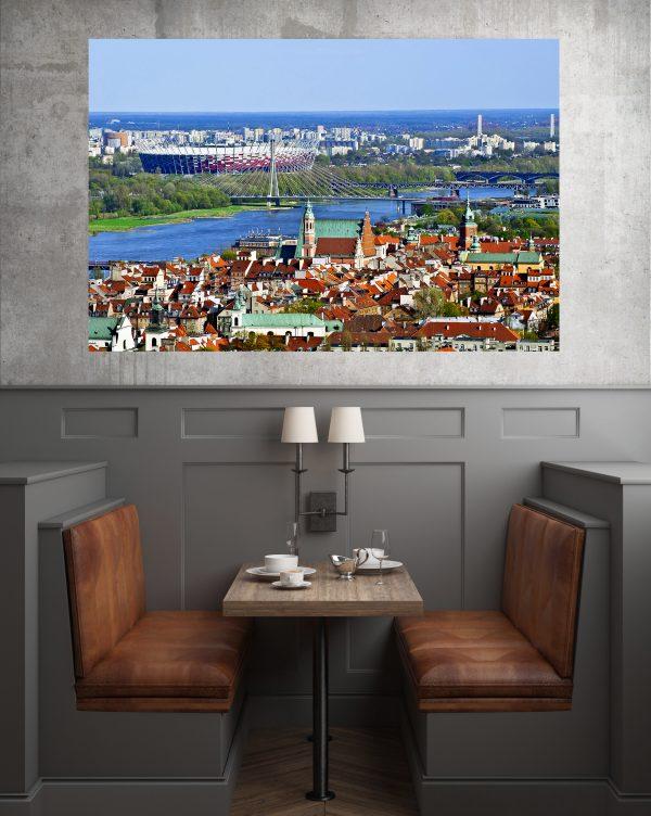 SStadion Narodowy i Stare Miasto w Warszawie fotoobraz na płótnie WarsawGiftShop.com