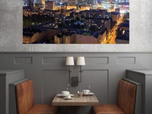 Warsaw skyline by night fotoobraz
