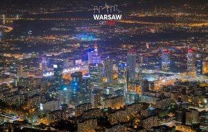 Warszawa nocą z lotu ptaka fotoobraz WARSAWGIFTSHOP