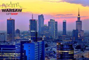 Zachód słońca nad wieżowcami fotoobraz WARSAWGIFTSHOP