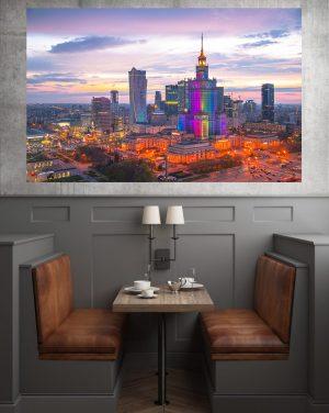 Zachód słońca w Warszawie fotoobraz na płótnie WarsawGiftShop.com