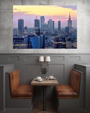 Zachód Słońca Nad Wieżowcami fotoobraz WarsawGiftShop.com
