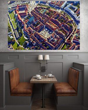 Stare Miasto w Warszawie z lotu ptaka- fotoobraz na płótnie WarsawGiftShop.com