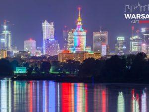 Warszawski skyline i uśmiechnięty PKIN Fotoobraz WARSAWGIFTSHOP