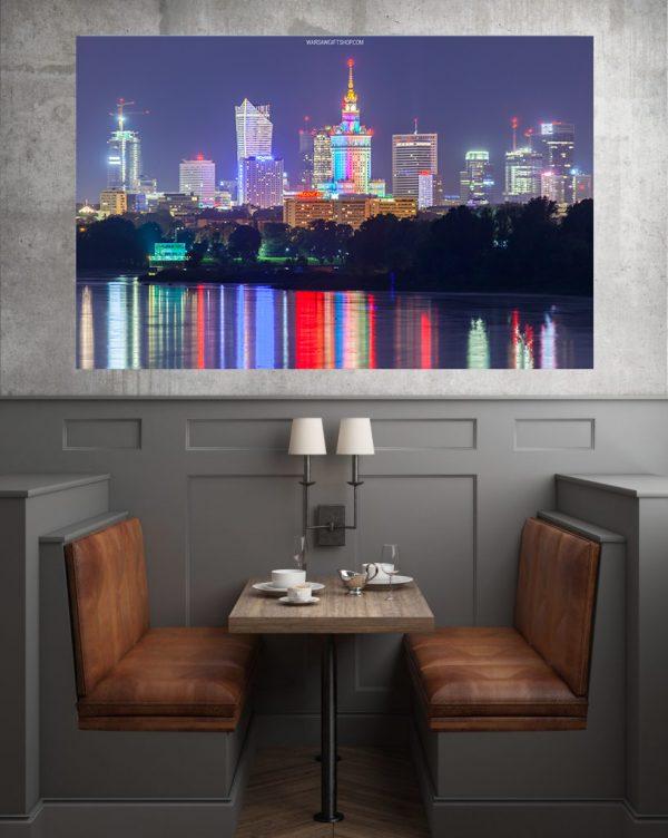 Warszawskie wieżowce, Wisła i uśmiechnięty PKiN! Fotoobraz na płótnie WarsawGiftShop.com