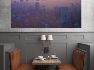 Warszawskie wieżowce we mgle fotoobraz na płótnie WarsawGiftShop.com