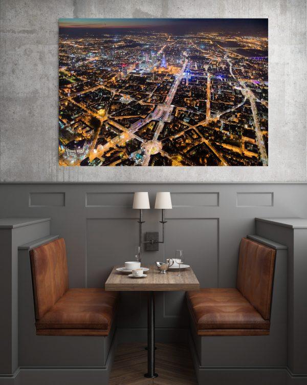 Place Warszawy nocą z lotu ptaka - fotoobraz na płótnie WarsawGiftShop.com