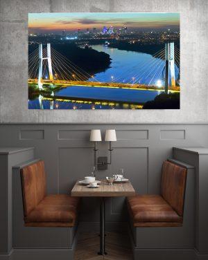 Most Siekierkowski, Wisła i Skyline fotoobraz na płótnie WarsawGiftShop.com