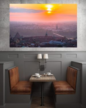 Wschód słońca nad Zamkiem Królewskim i Starym Miastem fotoobraz na płótnie WarsawGiftShop.com