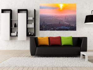 Wschód słońca nad Pragą i Starym Miastem fotoobraz