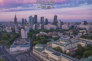 Warszawski świt fotoobraz na płótnie POLAND ON AIR
