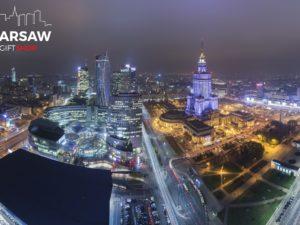Panorama Warszawy nocą fotoobraz