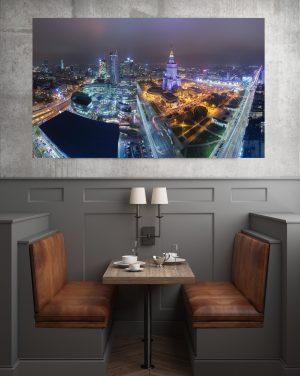 Panorama Warszawy nocą fotoobraz na pótnie WarsawGiftShop.com