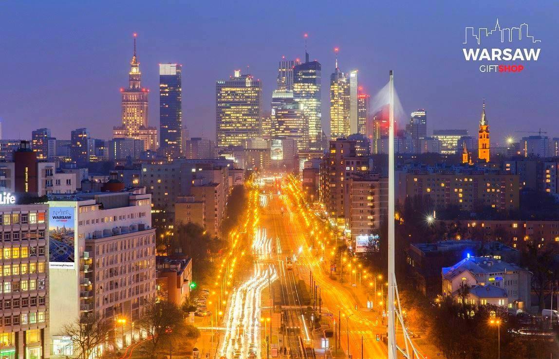 Sen o Warszawie nocą fotoobraz na płótnie WARSAW GIFT SHOP