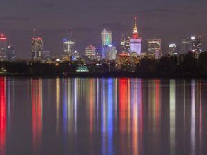 Warszawa i Wisła nocą fotoobraz panoramiczny