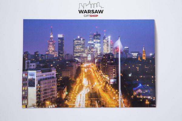 Sen o Warszawie nocą magnes pocztówkowy