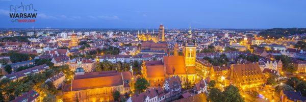 Gdańsk nocą fotoobraz panoramiczny