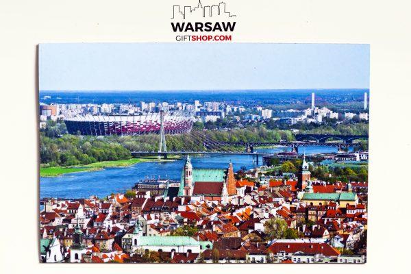 Stadion Narodowy i Stare Miasto magnes pocztówkowy WarsawGiftShop