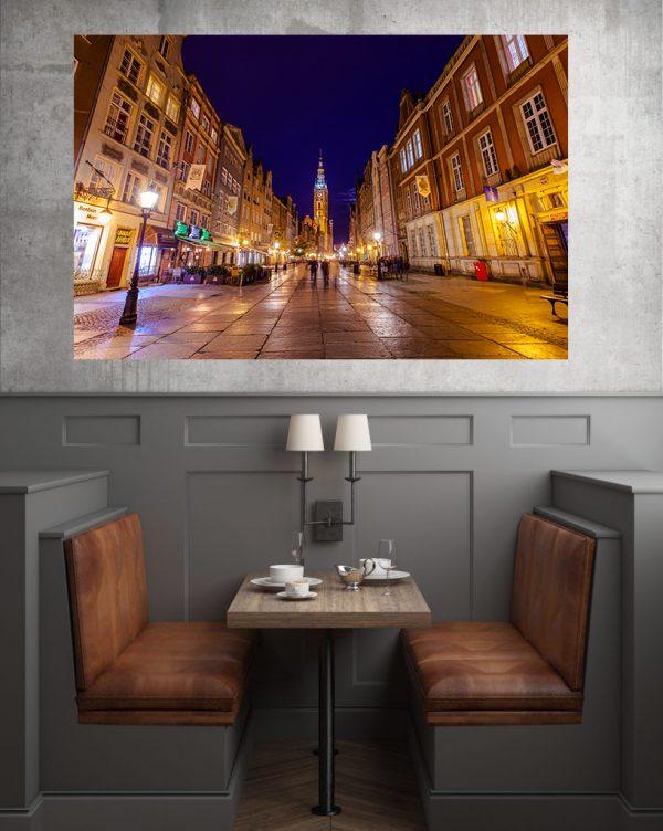 Stare Miasto w Gdańsku nocą fotoobraz na płótnie WarsawGiftShop