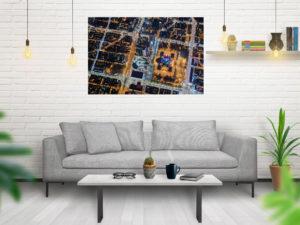 Plac Defilad z lotu ptaka nocą i siatka ulic fotoobraz z kolekcji WARSAW ON AIR!