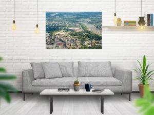 Praga, Stadion Narodowy i Wisła z lotu ptaka fotoobraz WarsawGiftShop