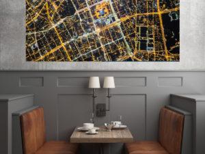 Rozświetlona Siatka ulc Warszawy fotoobraz na płótnie WarsawGiftShop.com