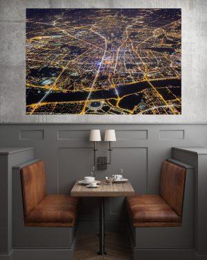Warszawa niczym świetlna mapa - fotoobraz na płótnie WARSAW ON AIR