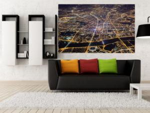Warszawa niczym świetlna mapa - fotoobraz na płótnie WarsawGiftShop