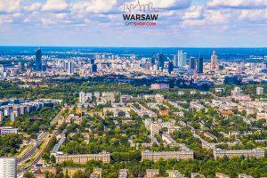Mokotów morze zieleni i skyline fotoobraz WARSAWGIFTSHOP