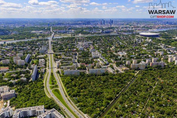 Zielona Saska Kępa i skyline z lotu ptaka fotoobraz WarsawGiftShop.com