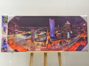 Dworzec Centralny nocą podświetlany fotoobraz Artlight Canvas
