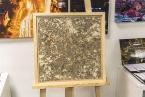Cut Map - Drewniana Mapa Warszawy 48x48cm