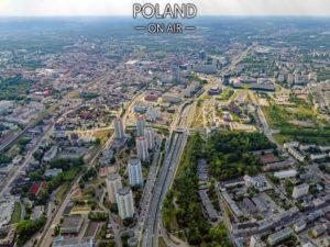Gwiazdy i centrum Katowic z lotu ptaka - fotoobraz z kolekcji POLAND ON AIR!