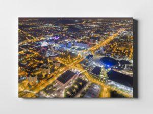 Katowice ON AIR nocą fotoobraz na płótnie z kolekcji POLAND ON AIR