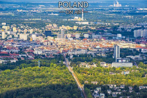 Katowice ON AIR Park Kościuszki i Śródmieście fotoobraz z kolekcji POLAND ON AIRlo