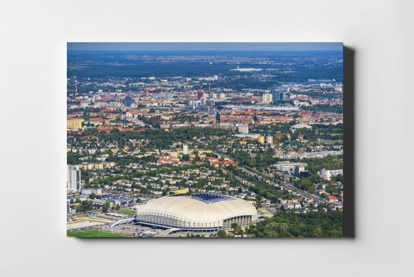 Zielony POZNAŃ ON AIR fotoobraz na płótnie z kolekcji POLAND ON AIR