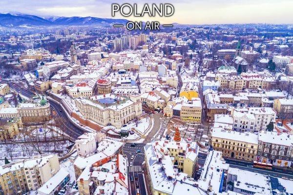 Bielsko-Biała zimą zamek Sułkowskich i centrum