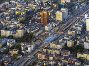 Łódź ON AIR kolorowe centrum z lotu ptaka fotoobraz na płótnie POLAND ON AIR