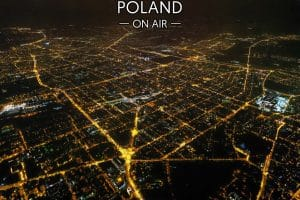 Łódź ON AIR siatka ulic nocą fotoobraz POLAND ON AIR
