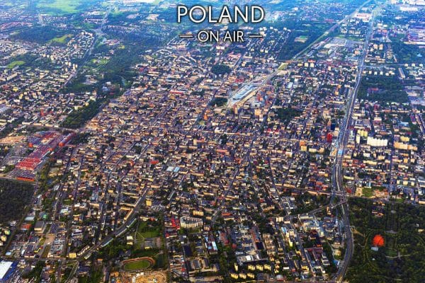 Centrum Łódzi z lotu ptaka fotoobraz na płótnie POLAND ON AIR