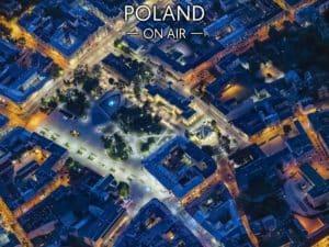 Nocny Lublin z lotu ptaka fotoobraz na płótnie POLAND ON AIRsm