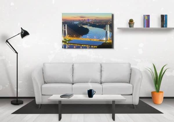 Most Siekierkowski, Wisła i Skyline - fotoobraz na płótnie z kolekcji WARSAW ON AIR