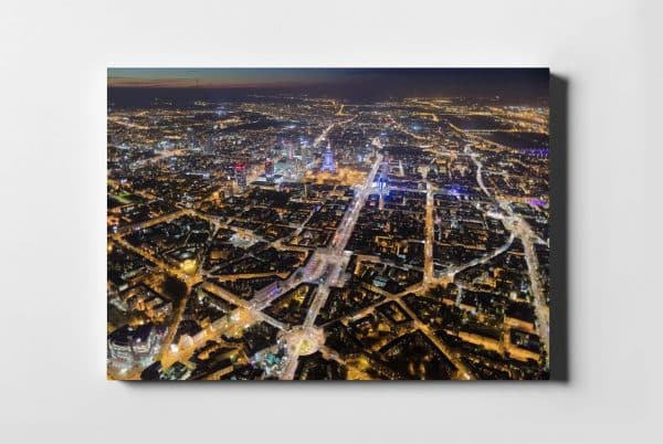 Place Warszawy nocą z lotu ptaka - fotoobraz na płótnie