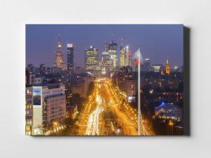 Sen o Warszawie nocą fotoobraz na płótnie