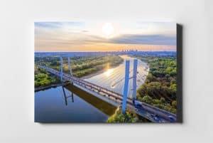 Most Siekierkowski i lato w Warszawie – fotoobraz na płótnie