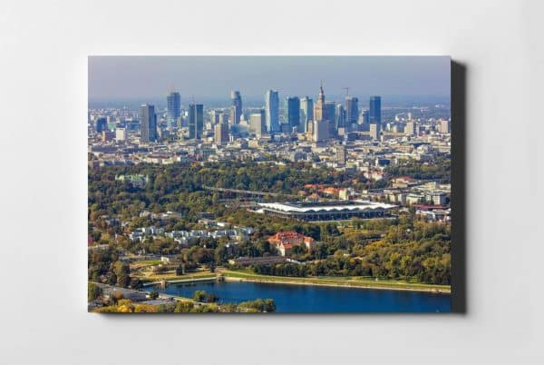 Stadion Legii i Skyline z lotu ptaka –fotoobraz na płótnie z kolekcji WARSAW ON AIR!