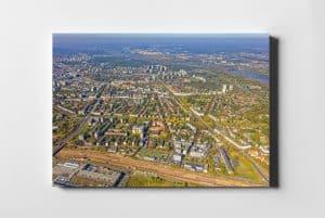 Zielony Żoliborz z lotu ptaka fotoobraz na płótnie WARSAW ON AIR