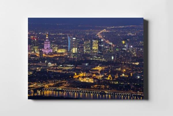 Stare i Nowe miasto Warszawa nocą fotoobraz na płótnie WARSAW ON AIR
