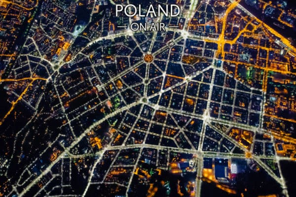 Nocna sieć ulic Szczecina –fotoobraz na płótnie z kolekcji POLAND ON AIR