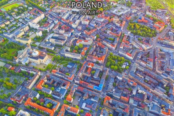Śródmieście Katowic z lotu ptaka – fotoobraz na płótnie z kolekcji SILESIA ON AIR